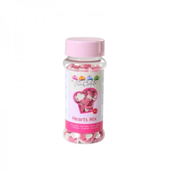Strooisel wit-roze hartjes